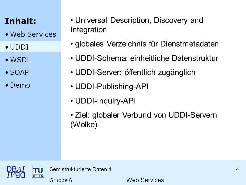 Semistrukturierte Daten 15 Gruppe 6 Web Services Web Service Description Language Beschreibung eines Dienstes Zugriff auf Dienst erfolgt über WSDL-File http://localhost:8080/axis/services/ SSD1WebServiceJava?wsdlhttp://localhost:8080/axis/services/ SSD1WebServiceJava?wsdl Inhalt: Web Services UDDI WSDL SOAP Demo