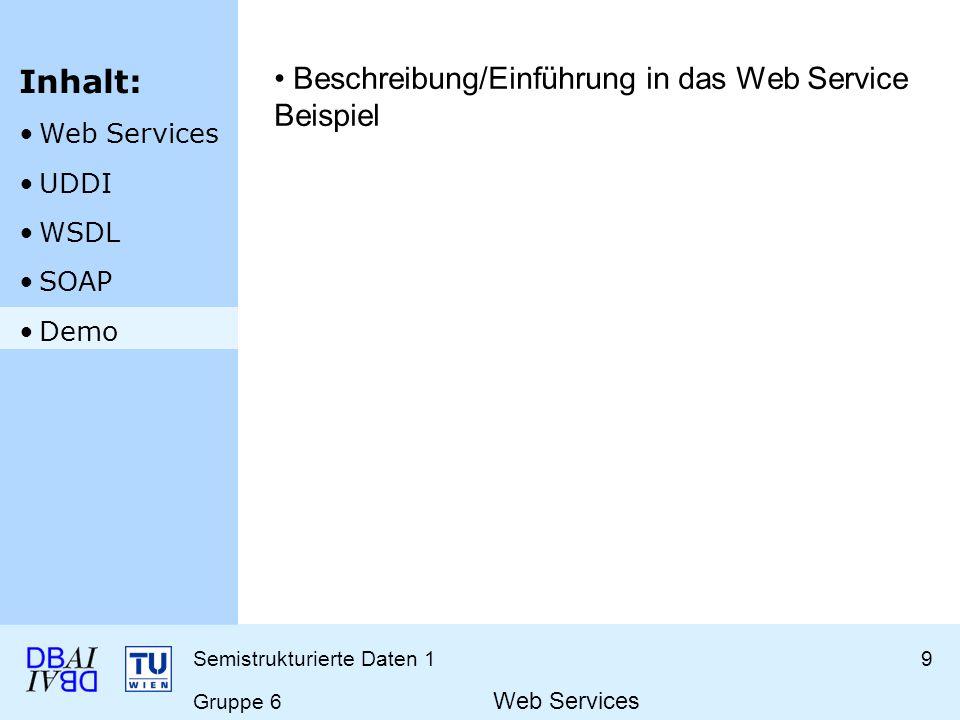 Semistrukturierte Daten 19 Gruppe 6 Web Services Beschreibung/Einführung in das Web Service Beispiel Inhalt: Web Services UDDI WSDL SOAP Demo
