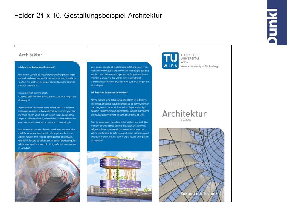 Folder 21 x 10, Gestaltungsbeispiel Architektur