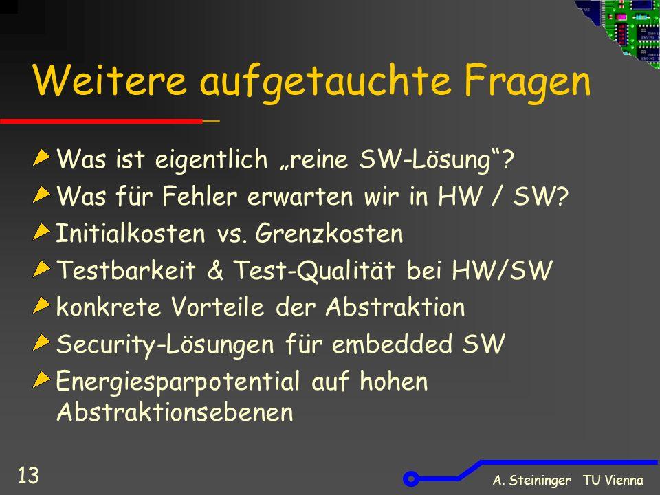A. Steininger TU Vienna 13 Weitere aufgetauchte Fragen Was ist eigentlich reine SW-Lösung? Was für Fehler erwarten wir in HW / SW? Initialkosten vs. G
