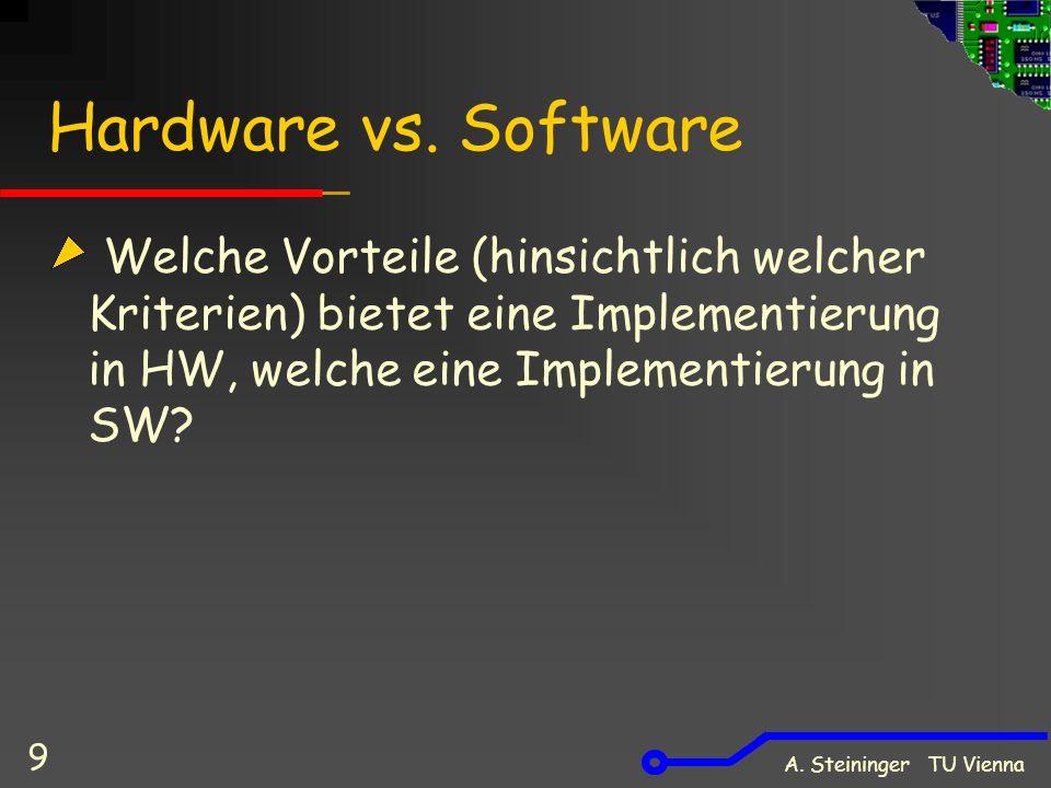 A.Steininger TU Vienna 10 Vergleich HW / SW v.