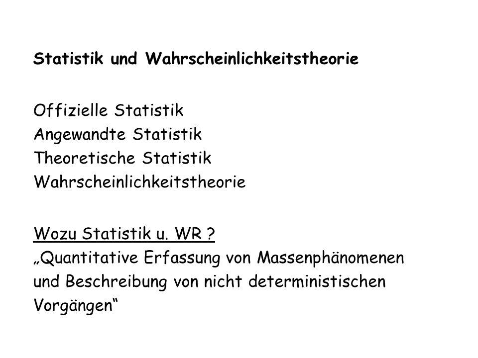 Statistik und Wahrscheinlichkeitstheorie Offizielle Statistik Angewandte Statistik Theoretische Statistik Wahrscheinlichkeitstheorie Wozu Statistik u.