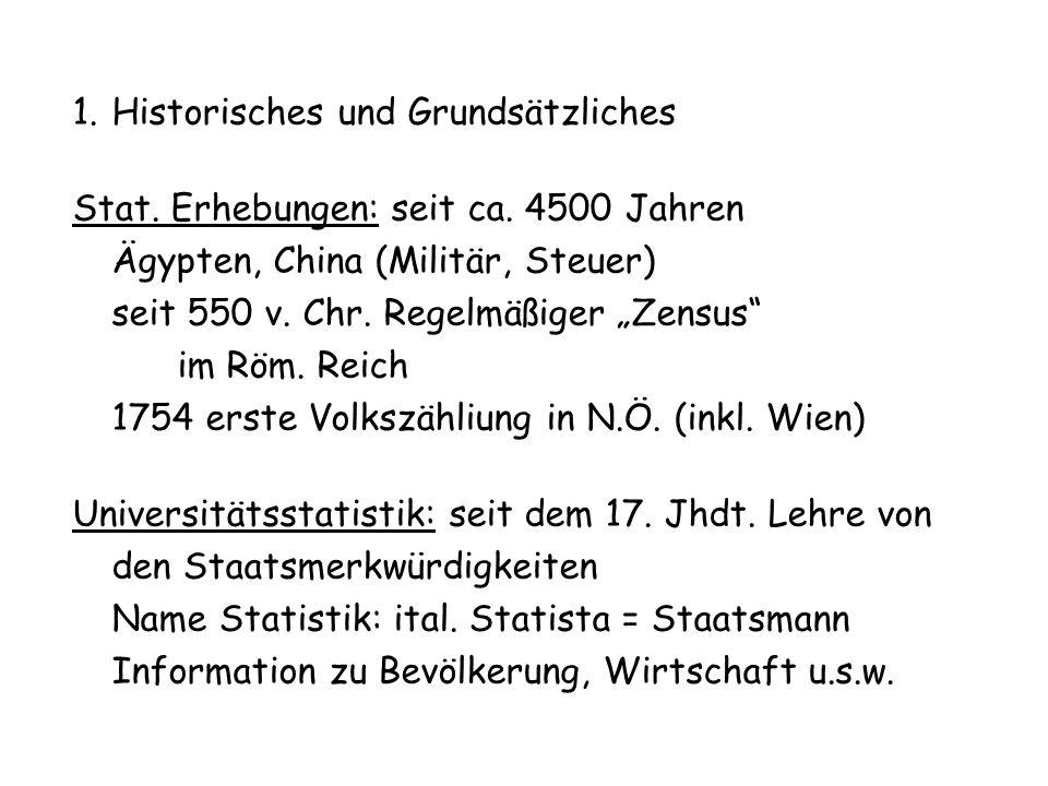 1.Historisches und Grundsätzliches Stat. Erhebungen: seit ca. 4500 Jahren Ägypten, China (Militär, Steuer) seit 550 v. Chr. Regelmäßiger Zensus im Röm
