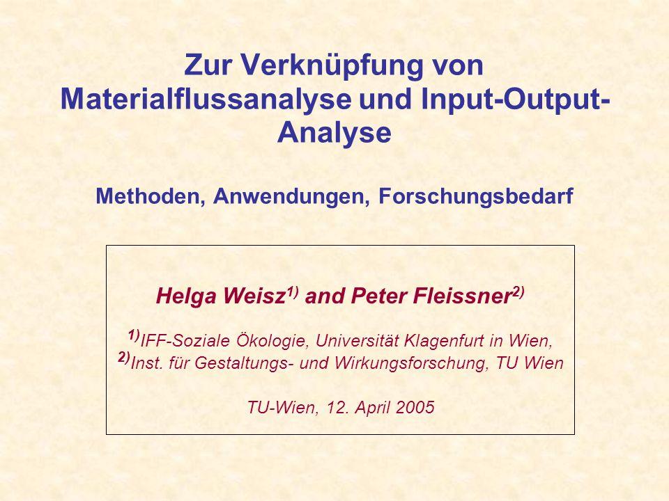 Zur Verknüpfung von Materialflussanalyse und Input-Output- Analyse Methoden, Anwendungen, Forschungsbedarf Helga Weisz 1) and Peter Fleissner 2) 1) IFF-Soziale Ökologie, Universität Klagenfurt in Wien, 2) Inst.