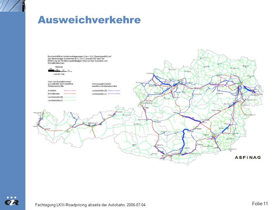 Fachtagung LKW-Roadpricing abseits der Autobahn, 2006-07-04 Folie 11 Ausweichverkehre