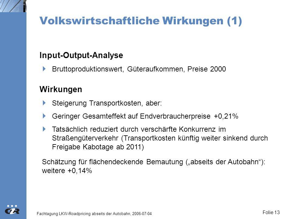 Fachtagung LKW-Roadpricing abseits der Autobahn, 2006-07-04 Folie 13 Volkswirtschaftliche Wirkungen (1) Wirkungen Steigerung Transportkosten, aber: Ge