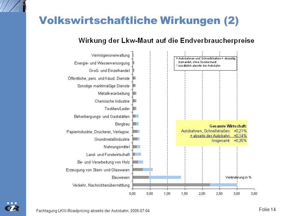 Fachtagung LKW-Roadpricing abseits der Autobahn, 2006-07-04 Folie 14 Volkswirtschaftliche Wirkungen (2)
