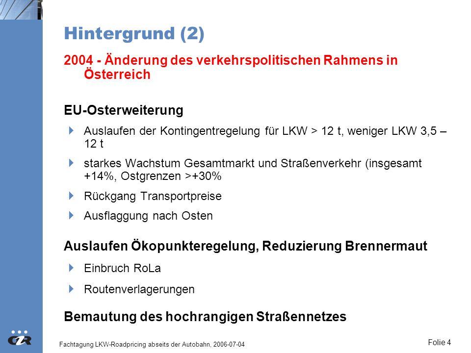 Fachtagung LKW-Roadpricing abseits der Autobahn, 2006-07-04 Folie 5 Mautauswirkungen Österreich Maßnahme Streckenbezogene Bemautung von LKW >3,5 t auf Autobahnen und Schnellstraßen Folgen Einnahmen / Finanzierung Tendenziell wie Deutschland (Effizienz) Ausweichverkehre (2,3% Verlagerung auf das niederrangige Netz) Modal Split: Positive Effekte der Maut - negative der Osterweiterung Fernverkehre teilweise nicht erfasst (Verbindungen zu den Ostgrenzen)