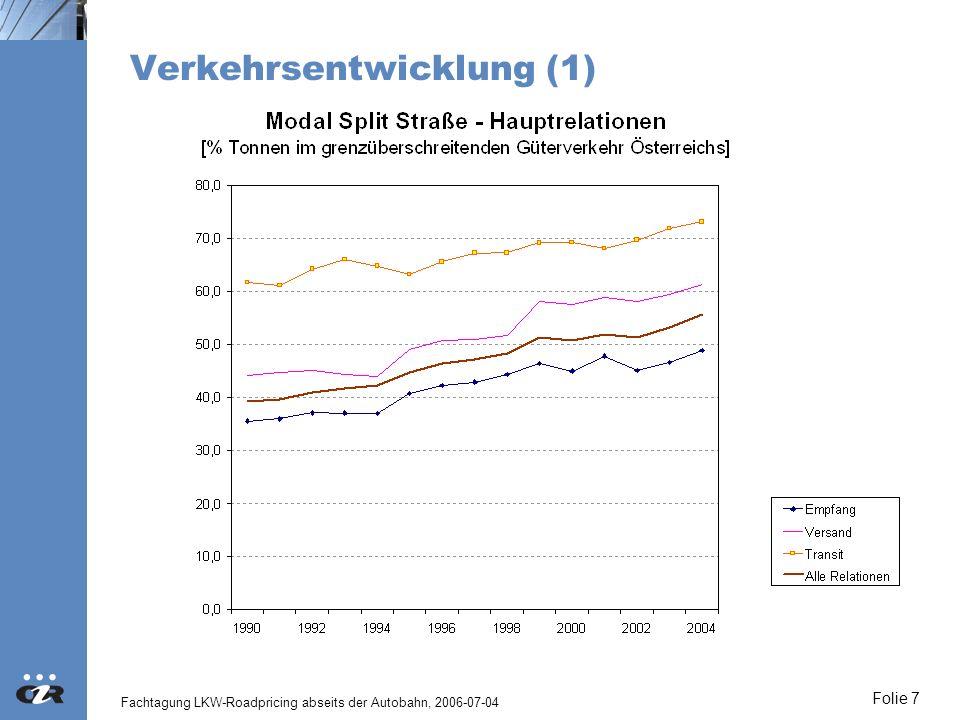 Fachtagung LKW-Roadpricing abseits der Autobahn, 2006-07-04 Folie 8 Verkehrsentwicklung (2)