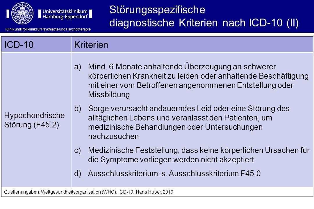 Klinik und Poliklinik für Psychiatrie und Psychotherapie Störungsspezifische diagnostische Kriterien nach ICD-10 (II) ICD-10Kriterien Hypochondrische