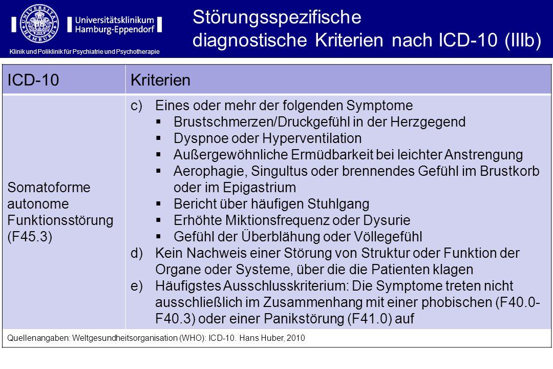 Klinik und Poliklinik für Psychiatrie und Psychotherapie Störungsspezifische diagnostische Kriterien nach ICD-10 (IIIb) ICD-10Kriterien Somatoforme au