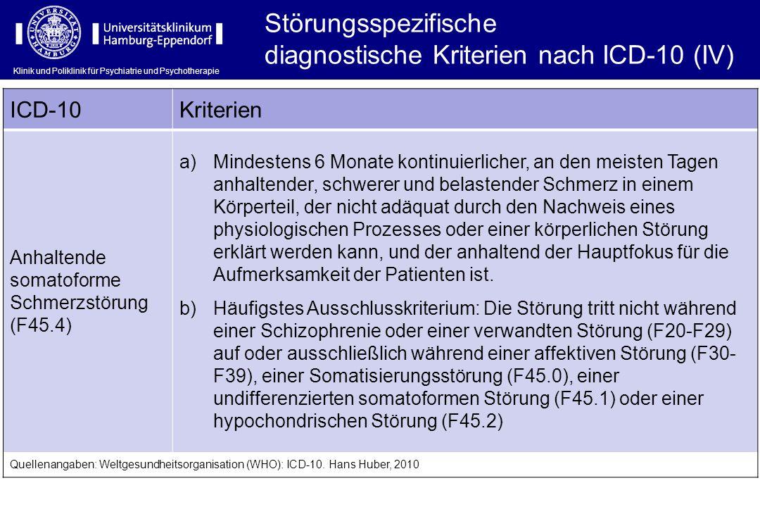 Klinik und Poliklinik für Psychiatrie und Psychotherapie Störungsspezifische diagnostische Kriterien nach ICD-10 (IV) ICD-10Kriterien Anhaltende somat