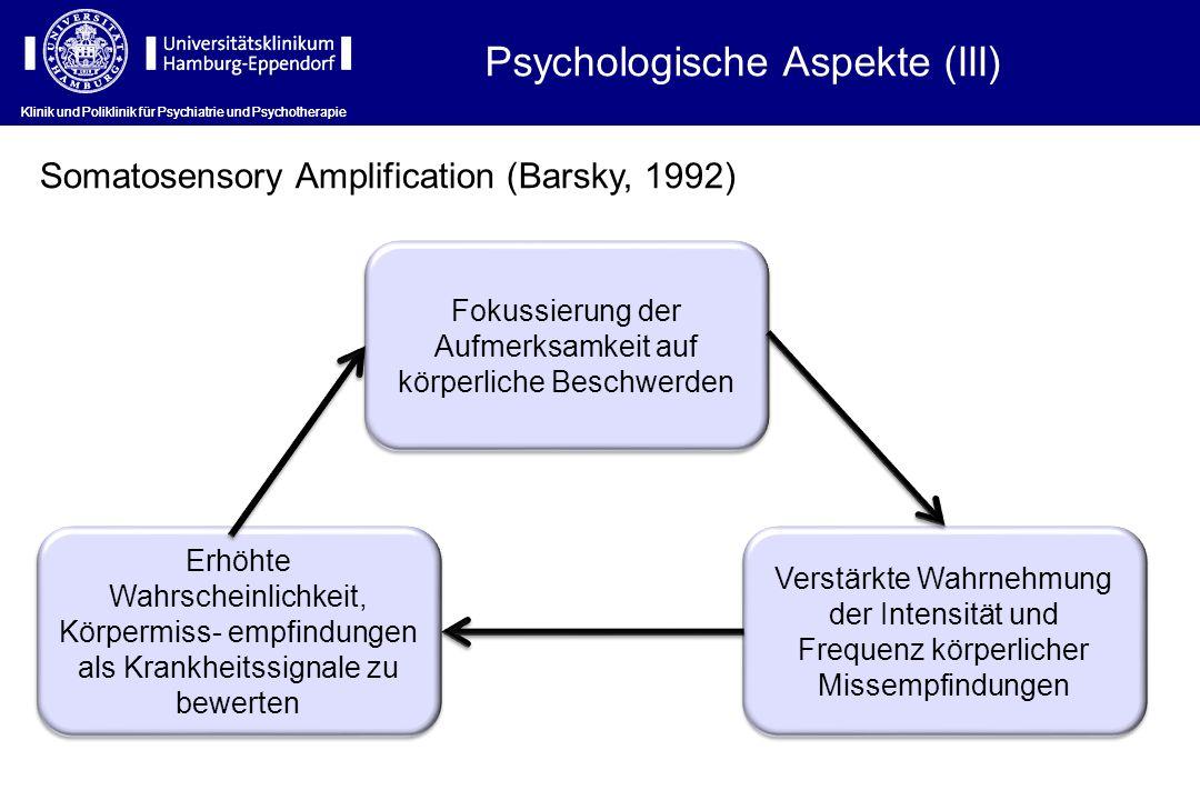 Klinik und Poliklinik für Psychiatrie und Psychotherapie Erhöhte Wahrscheinlichkeit, Körpermiss- empfindungen als Krankheitssignale zu bewerten Verstä