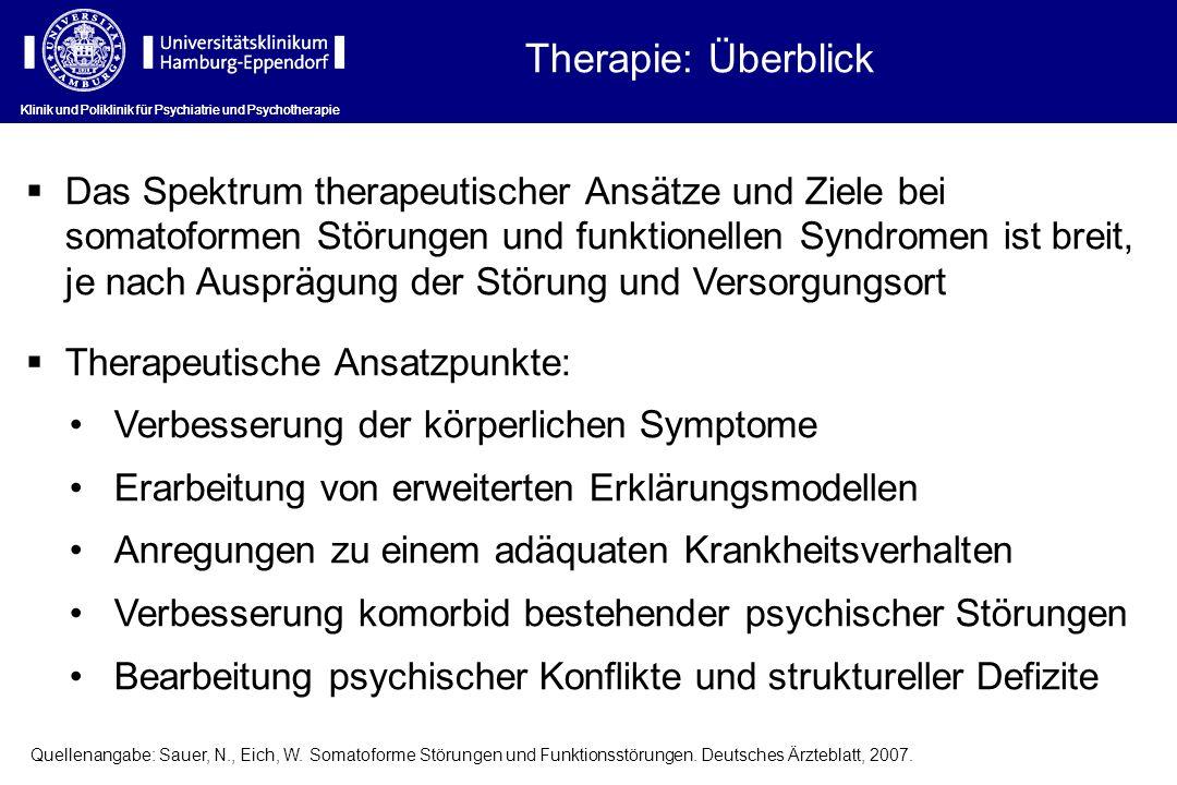 Therapie: Überblick Das Spektrum therapeutischer Ansätze und Ziele bei somatoformen Störungen und funktionellen Syndromen ist breit, je nach Ausprägun
