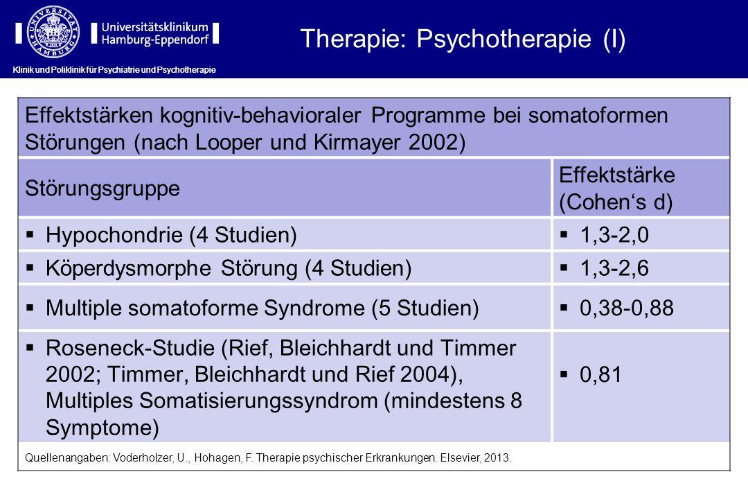 Effektstärken kognitiv-behavioraler Programme bei somatoformen Störungen (nach Looper und Kirmayer 2002) Störungsgruppe Effektstärke (Cohens d) Hypoch