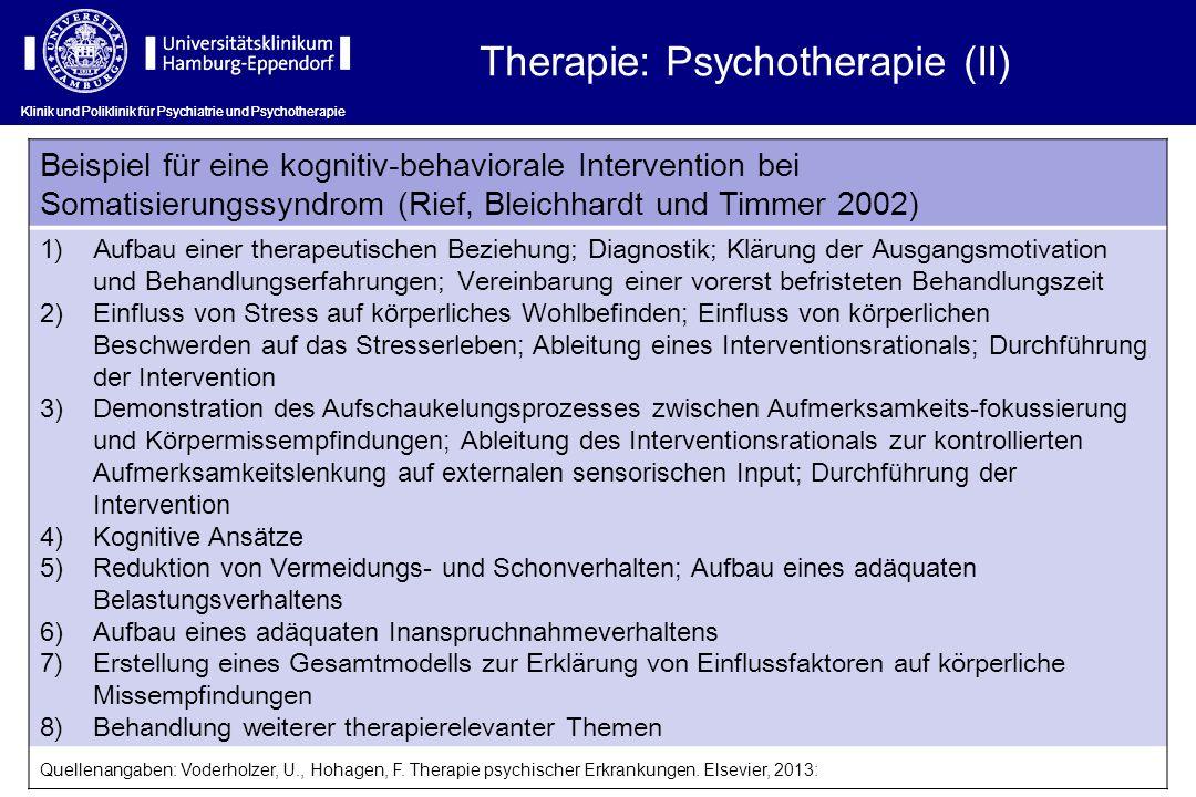 Klinik und Poliklinik für Psychiatrie und Psychotherapie Therapie: Psychotherapie (II) Beispiel für eine kognitiv-behaviorale Intervention bei Somatis