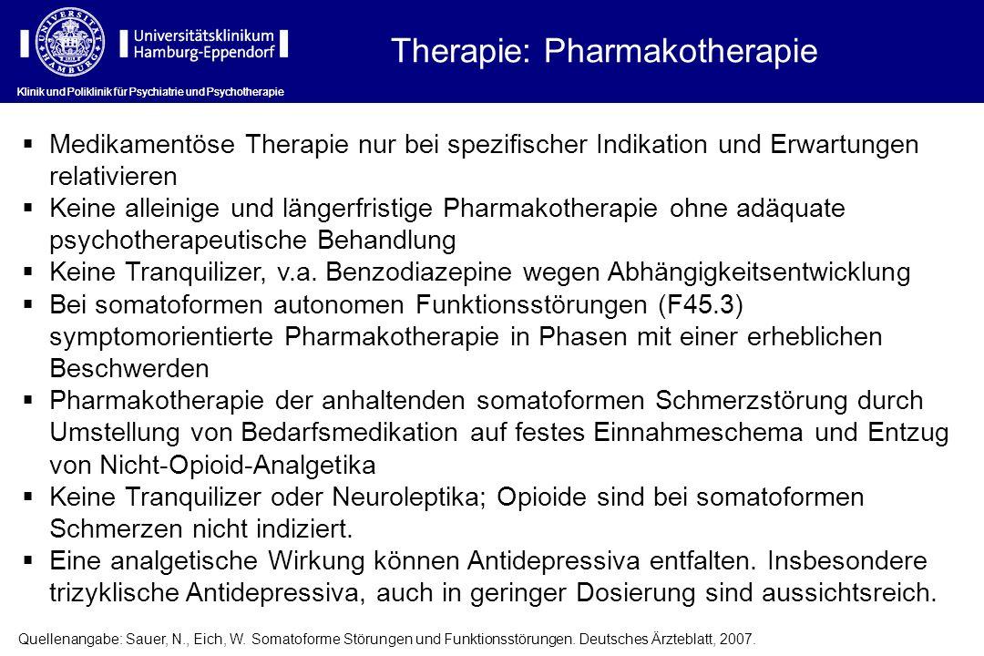 Medikamentöse Therapie nur bei spezifischer Indikation und Erwartungen relativieren Keine alleinige und längerfristige Pharmakotherapie ohne adäquate
