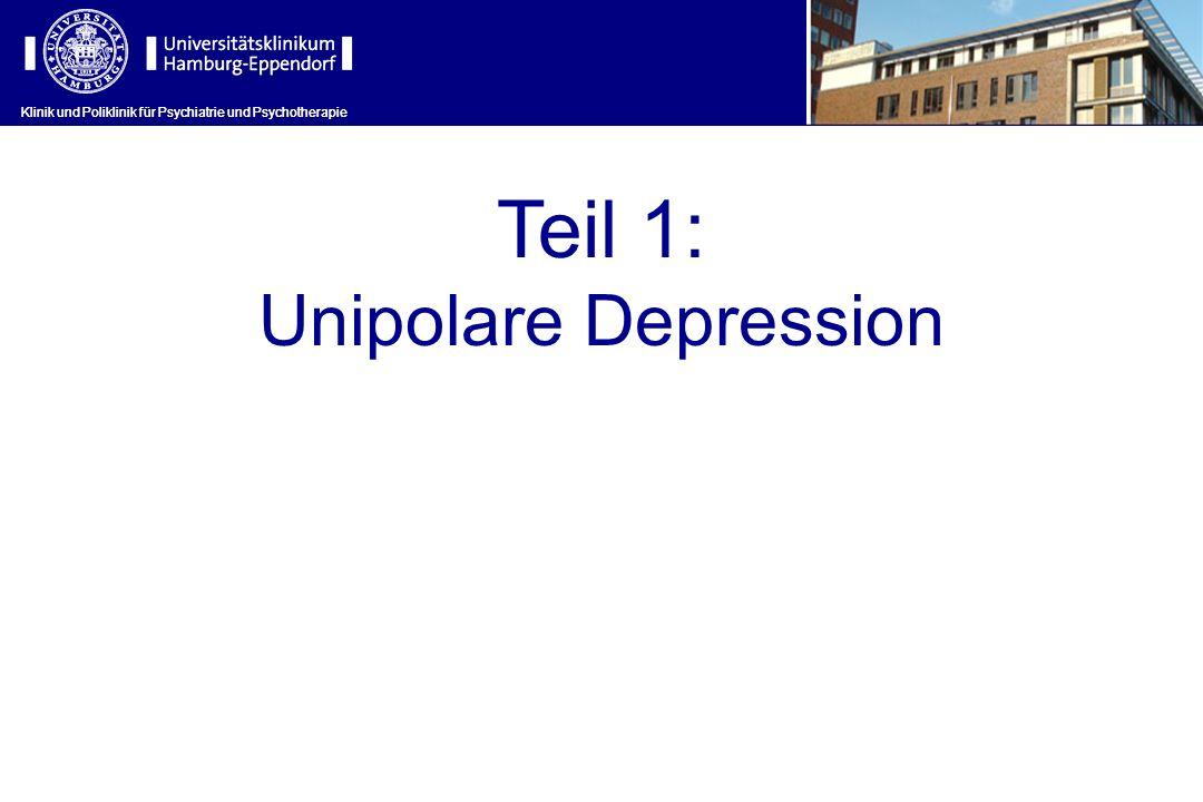 Klinik und Poliklinik für Psychiatrie und Psychotherapie Chronische Depressionen (II) 1)Chronische major depressive Episoden (MDE mit einer Dauer von mehr als 2 Jahren) 2)Dysthyme Störung (leichter ausgeprägte Symptomatik für länger als 2 Jahre) 3)Zyklothymia 4)Double Depression (MDE auf eine dysthyme Störung aufgesetzt) und 5)MDE mit unvollständiger Remission.