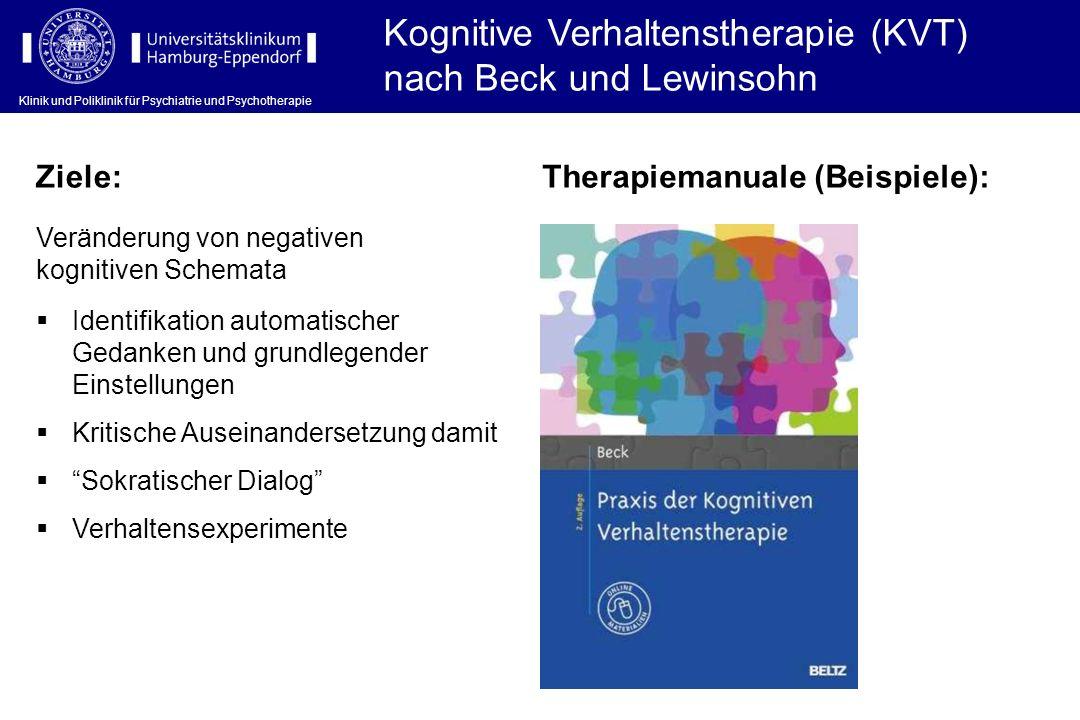 Klinik und Poliklinik für Psychiatrie und Psychotherapie Kognitive Verhaltenstherapie (KVT) nach Beck und Lewinsohn Klinik und Poliklinik für Psychiat