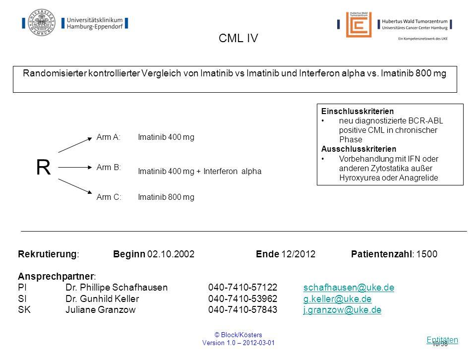 © Block/Kösters Version 1.0 – 2012-03-01 10/98 CML IV Randomisierter kontrollierter Vergleich von Imatinib vs Imatinib und Interferon alpha vs. Imatin