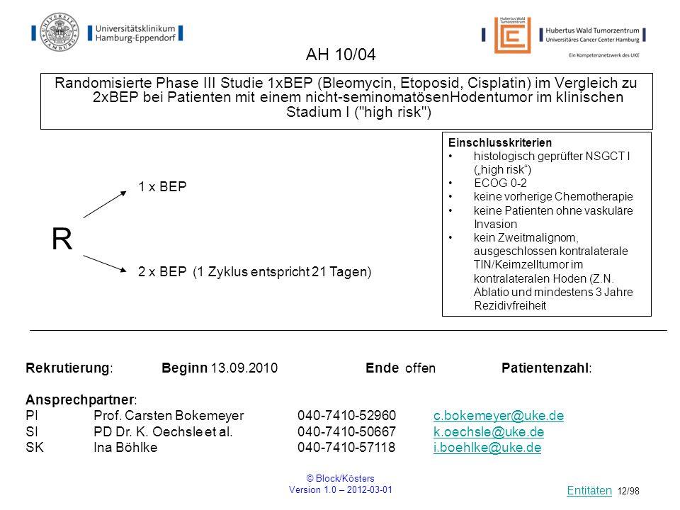 © Block/Kösters Version 1.0 – 2012-03-01 12/98 AH 10/04 Randomisierte Phase III Studie 1xBEP (Bleomycin, Etoposid, Cisplatin) im Vergleich zu 2xBEP be