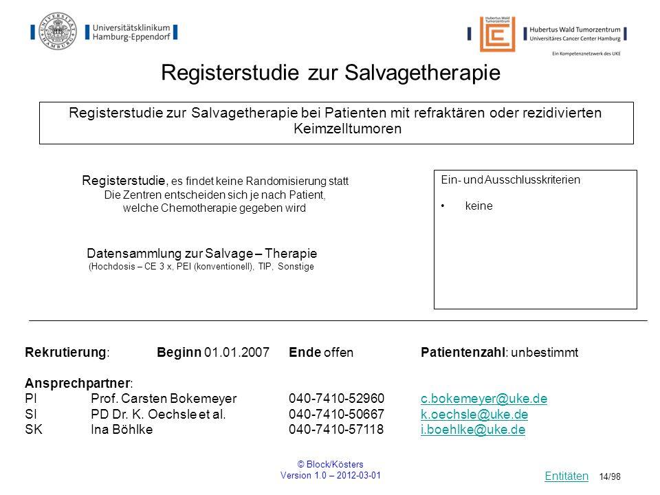 © Block/Kösters Version 1.0 – 2012-03-01 14/98 Registerstudie zur Salvagetherapie Registerstudie zur Salvagetherapie bei Patienten mit refraktären ode