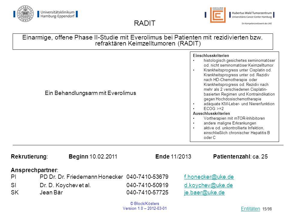 © Block/Kösters Version 1.0 – 2012-03-01 15/98 RADIT Einarmige, offene Phase II-Studie mit Everolimus bei Patienten mit rezidivierten bzw. refraktären
