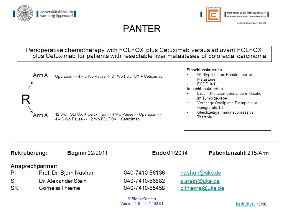© Block/Kösters Version 1.0 – 2012-03-01 17/98 PANTER Perioperative chemotherapy with FOLFOX plus Cetuximab versus adjuvant FOLFOX plus Cetuximab for