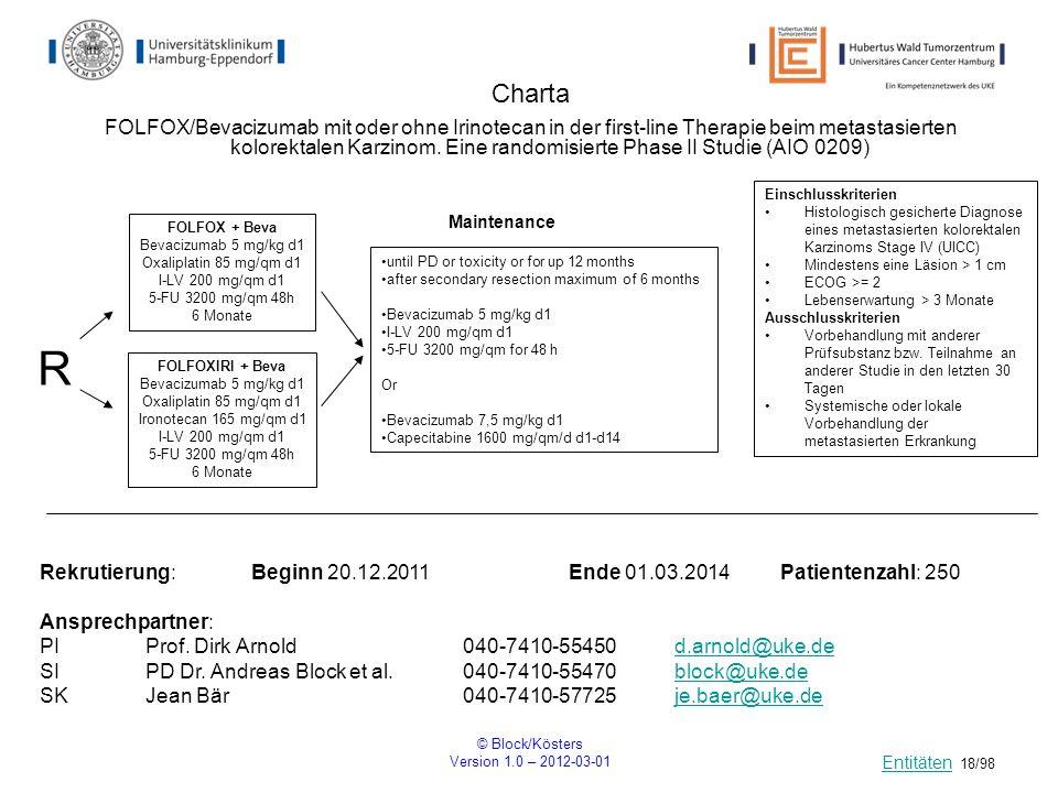 © Block/Kösters Version 1.0 – 2012-03-01 18/98 Charta R Einschlusskriterien Histologisch gesicherte Diagnose eines metastasierten kolorektalen Karzino