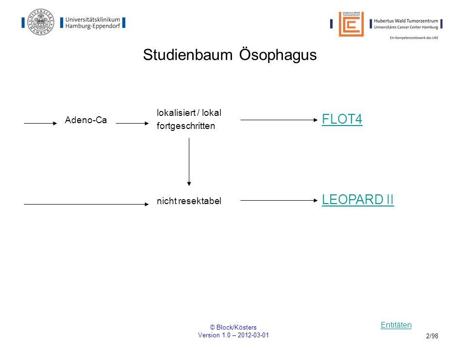 © Block/Kösters Version 1.0 – 2012-03-01 3/98 FLOT4 Multizentrische, randomisierte Phase II/III Studie mit 5-FU, Leucovorin, Oxaliplatin und Docetaxel (FLOT) versus Epirubicin, Cisplatin und 5-FU (ECF) bei Patienten mit lokal fortgeschrittenem, resektablem Adenokarzinom des ösophagogastralen Überganges und des Magens R ARM B: 4x FLOT – OP – 4x FLOT ARM A: 3x ECF/ECX – OP – 3x ECF/ECX Einschlusskriterien keine Resektion des Tumors keine zytostatische Behandlung ECOG <= 2 Rekrutierung: Beginn 01.01.2010 Ende 12/2012 Patientenzahl: 150 pro Arm Ansprechpartner: PIPD Dr.