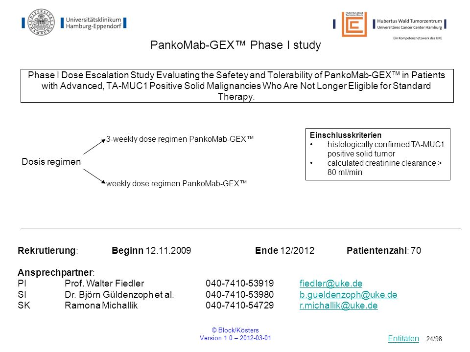 © Block/Kösters Version 1.0 – 2012-03-01 24/98 PankoMab-GEX Phase I study Phase I Dose Escalation Study Evaluating the Safetey and Tolerability of Pan