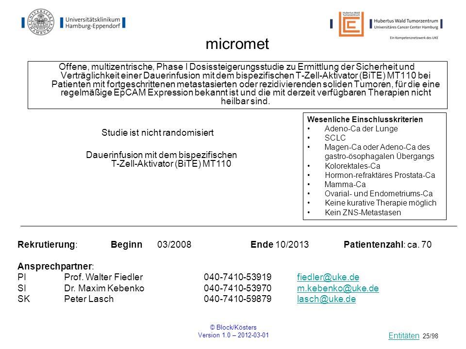© Block/Kösters Version 1.0 – 2012-03-01 25/98 micromet Offene, multizentrische, Phase I Dosissteigerungsstudie zu Ermittlung der Sicherheit und Vertr