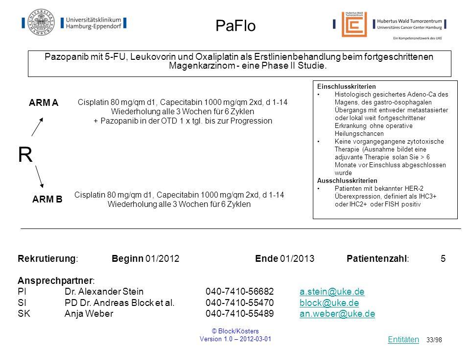 © Block/Kösters Version 1.0 – 2012-03-01 33/98 PaFlo Pazopanib mit 5-FU, Leukovorin und Oxaliplatin als Erstlinienbehandlung beim fortgeschrittenen Ma