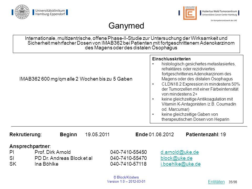 © Block/Kösters Version 1.0 – 2012-03-01 35/98 Ganymed Internationale, multizentrische, offene Phase-II-Studie zur Untersuchung der Wirksamkeit und Si