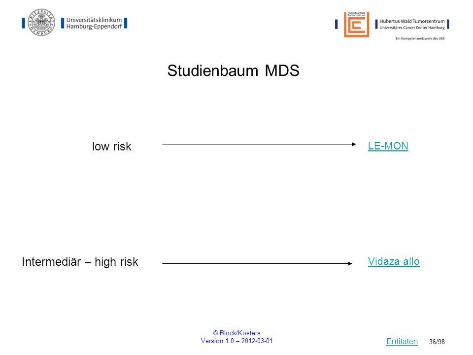 © Block/Kösters Version 1.0 – 2012-03-01 36/98 Studienbaum MDS Entitäten Intermediär – high risk Vidaza allo LE-MON low risk