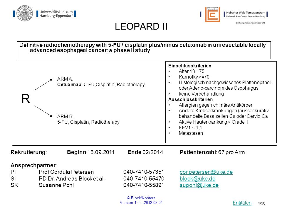 © Block/Kösters Version 1.0 – 2012-03-01 4/98 LEOPARD II Definitive radiochemotherapy with 5-FU / cisplatin plus/minus cetuximab in unresectable local