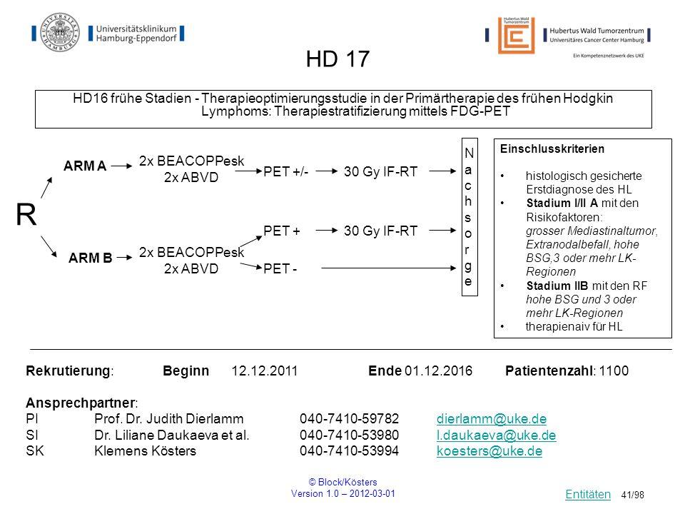© Block/Kösters Version 1.0 – 2012-03-01 41/98 HD 17 HD16 frühe Stadien - Therapieoptimierungsstudie in der Primärtherapie des frühen Hodgkin Lymphoms
