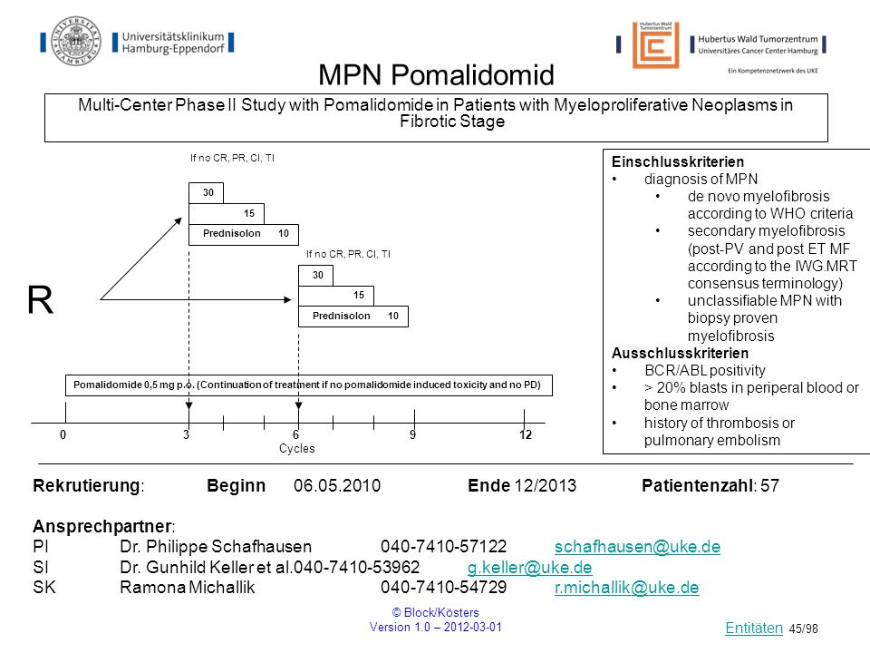 © Block/Kösters Version 1.0 – 2012-03-01 45/98 MPN Pomalidomid Multi-Center Phase II Study with Pomalidomide in Patients with Myeloproliferative Neopl