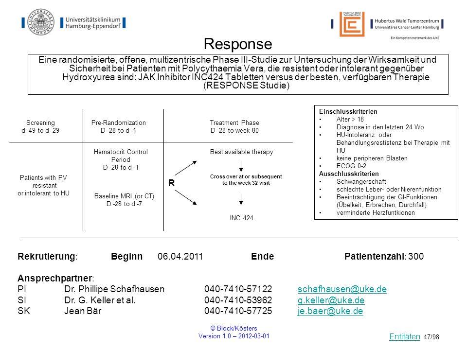 © Block/Kösters Version 1.0 – 2012-03-01 47/98 Response Eine randomisierte, offene, multizentrische Phase III-Studie zur Untersuchung der Wirksamkeit