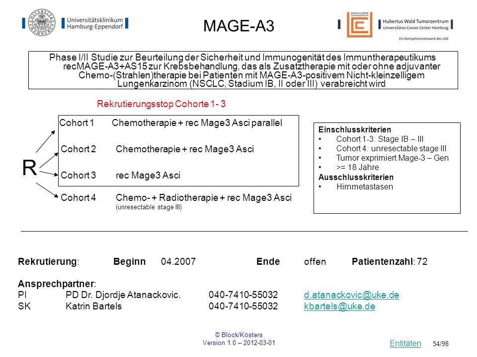 © Block/Kösters Version 1.0 – 2012-03-01 54/98 MAGE-A3 Phase I/II Studie zur Beurteilung der Sicherheit und Immunogenität des Immuntherapeutikums recM