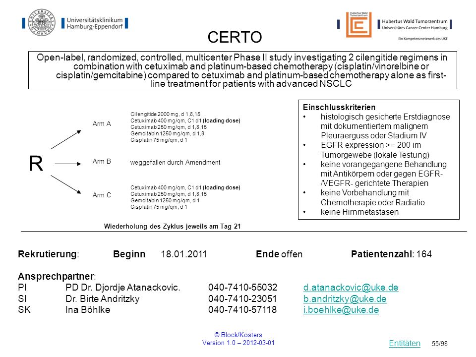 © Block/Kösters Version 1.0 – 2012-03-01 55/98 CERTO Open-label, randomized, controlled, multicenter Phase II study investigating 2 cilengitide regime