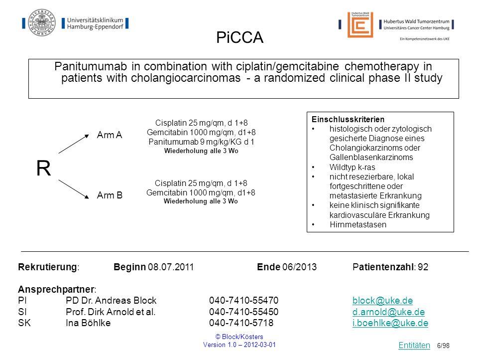 © Block/Kösters Version 1.0 – 2012-03-01 17/98 PANTER Perioperative chemotherapy with FOLFOX plus Cetuximab versus adjuvant FOLFOX plus Cetuximab for patients with resectable liver metastases of colorectal carcinoma R Einschlusskriterien Wildtyp k-ras im Primärtumor oder Metastase ECOG 0-1 Ausschlusskriterien k-ras – Mutation oder andere Mutation im Tumorgewebe Vorherige Oxaliplatin-Therapie vor weniger als 1 Jahr Gleichzeitige immunsuppressive Therapie Rekrutierung: Beginn 02/2011Ende 01/2014Patientenzahl: 215/Arm Ansprechpartner: PIProf.