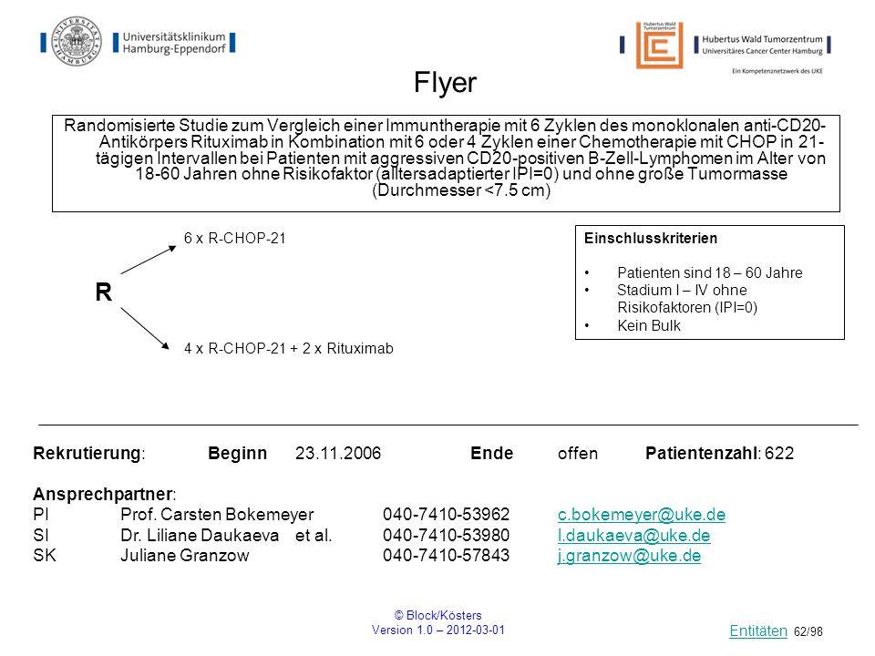 © Block/Kösters Version 1.0 – 2012-03-01 62/98 Flyer Randomisierte Studie zum Vergleich einer Immuntherapie mit 6 Zyklen des monoklonalen anti-CD20- A
