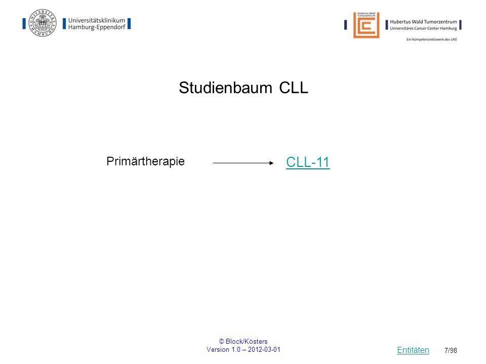 © Block/Kösters Version 1.0 – 2012-03-01 88/98 B-RAF An open-label, multicenter expanded access study of Vemurafenib/RO5185426 in patients with metastatic melanoma einarmige offene Studie Rekrutierung: Beginn17.06.2011Ende ca.