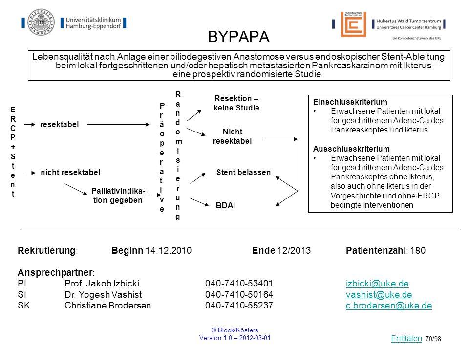 © Block/Kösters Version 1.0 – 2012-03-01 70/98 BYPAPA Lebensqualität nach Anlage einer biliodegestiven Anastomose versus endoskopischer Stent-Ableitun