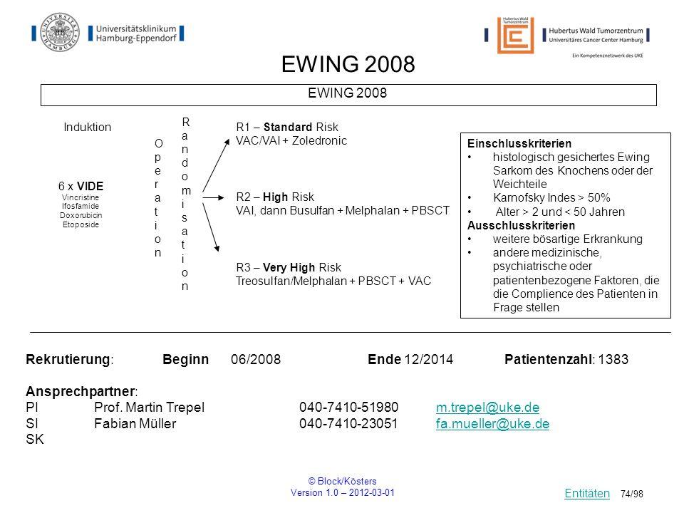 © Block/Kösters Version 1.0 – 2012-03-01 74/98 EWING 2008 RandomisationRandomisation Rekrutierung: Beginn06/2008Ende 12/2014Patientenzahl: 1383 Anspre