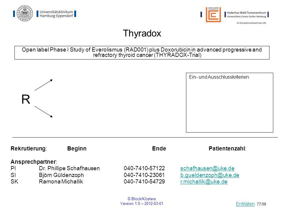 © Block/Kösters Version 1.0 – 2012-03-01 77/98 Thyradox Open label Phase I Study of Everolismus (RAD001) plus Doxorubicin in advanced progressive and