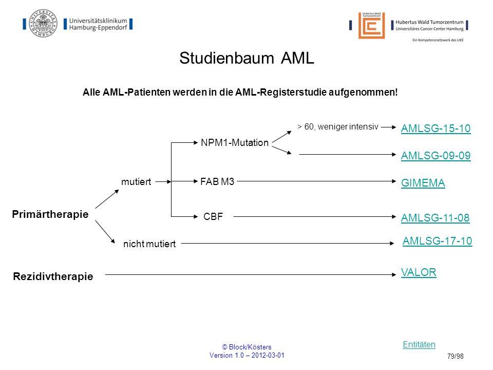 © Block/Kösters Version 1.0 – 2012-03-01 79/98 Studienbaum AML Entitäten GIMEMA NPM1-Mutation > 60, weniger intensiv Alle AML-Patienten werden in die