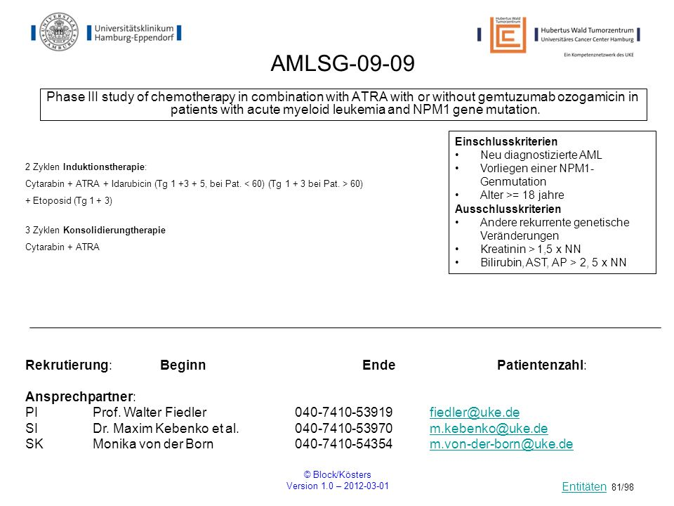© Block/Kösters Version 1.0 – 2012-03-01 81/98 AMLSG-09-09 Phase III study of chemotherapy in combination with ATRA with or without gemtuzumab ozogami