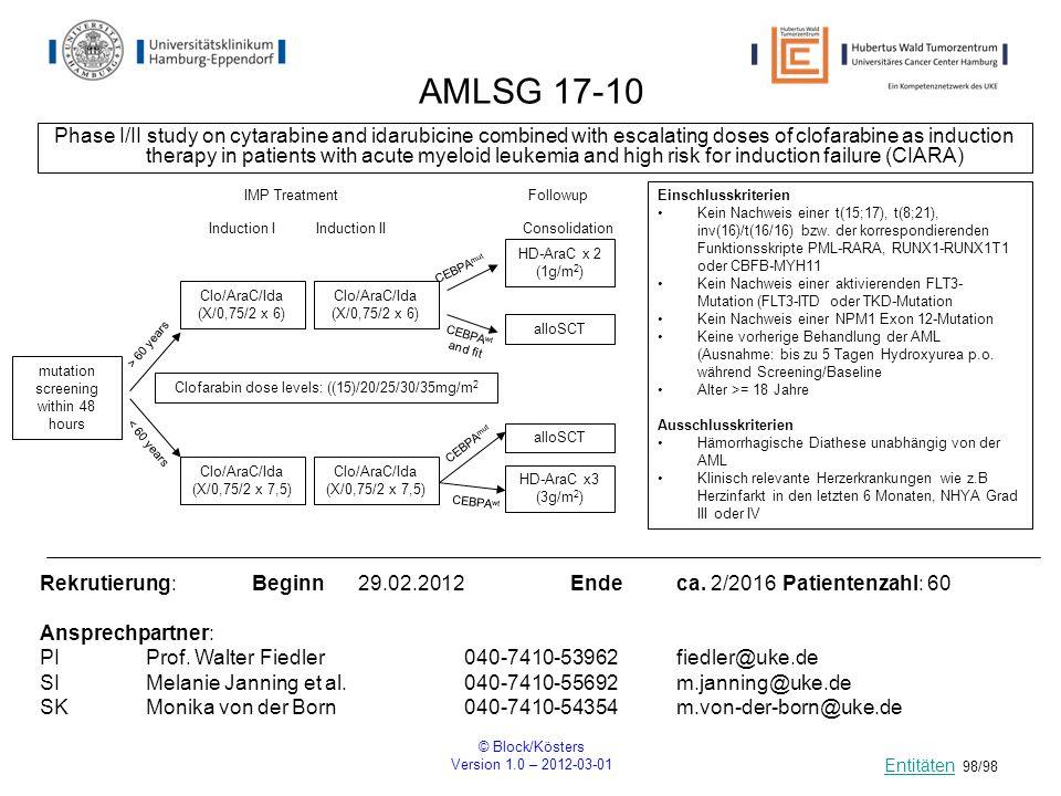 © Block/Kösters Version 1.0 – 2012-03-01 98/98 AMLSG 17-10 Phase I/II study on cytarabine and idarubicine combined with escalating doses of clofarabin
